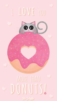Pink Girl Pastel Donut Love iPhone Lock Wallpaper @PanPins