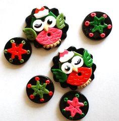 Button Christmas Owls handmade polymer clay by digitsdesigns, $8.50
