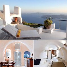 Tour Stunning Santorini Villas With Classic Greek Style: With breathtaking views of the Aegean Sea and beautiful Cycladic design, these Santorini villas make for a dreamy Greek escape. The village includes nine luxury villas in the traditional whitewash style with a total of 18 bedrooms and 14 baths, plus gorgeous pools and jacuzzis with ocean views. Love the fresh, airy look of Mediterranean style? Get a glimpse inside these swoon-worthy Santorini villas!  Source: Sotheby's
