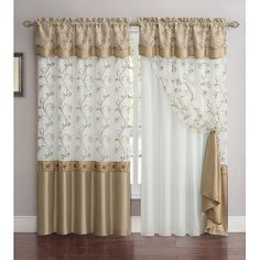 Layered Curtains, Colorful Curtains, Drapery Panels, Drapes Curtains, Gold And White Curtains, Curtains With Attached Valance, Shabby Chic Curtains, Luxury Home Furniture, Curtain Designs