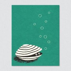 lisa jones studio recycled greeting card, illustration of bubbling clam peeping from shell