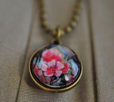 Pink floral double-sided pendant