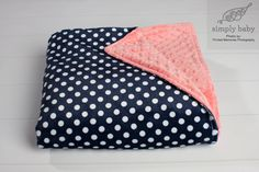Adult Double Minky Blanket with Navy and White Polka Dot Backed with Coral Minky Dot