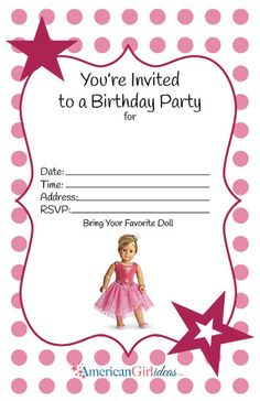 American Girl Birthday Invitations Best Of American Girl Party Invitations American Girl Birthday, American Girl Parties, American Girl Crafts, American Girls, Birthday Party Invitations Free, Birthday Invitation Templates, Invitation Ideas, Invitation Design, American Girl