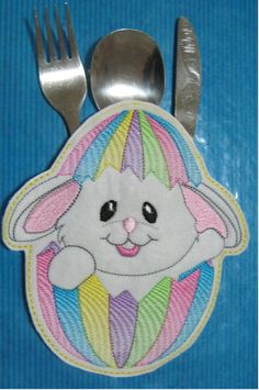 ITH Bunny Cutlery Holder Embroidery Design by EmbroiderByMADELEINE on Etsy Cutlery Holder, Marketing And Advertising, Embroidery Designs, Bunny, Handmade Items, Sewing, Etsy, Vintage, Cute Bunny