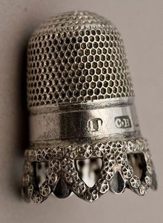 .~1905 pretty antique silver thimble (this reminds me of my grandmother, who was born in the 1890s -HH)~.