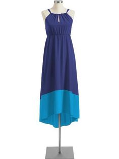 Old Navy Two Tone Blues Colorblock Keyhole Maxi Dress L 12 14 New Free SHIP | eBay