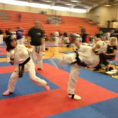 What's a little sparring between sisters?! Erin and Shannon Donlon compete at Spar Wars in Dickson, TN, Sept. 29, 2012.