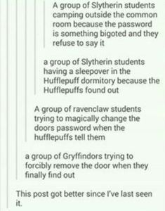 Hufflepuff Ravenclaw and Gryffindor helping out the Slytherins Harry Potter Love, Harry Potter Universal, Harry Potter Fandom, Harry Potter Memes, Potter Facts, Ravenclaw, Hufflepuff Pride, Drarry, Fandoms