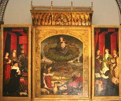 Nicolas Froment(1430–1484)Triptych of the Burning Bush, middle panel  Datefrom 1475 until 1476MediumoilonpanelDimensions410 × 305 cm (161.4 × 120.1 in) (!)Current locationCathédrale St. SauveurAix-en-Provence