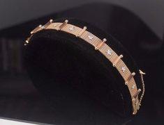 18K Rose Gold Diamond Bracelet -NINE Diamonds:Total Carat Weight 0.45 Circa 1925 #Unbranded #SolidGoldMesh