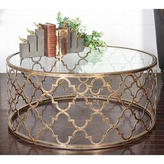 Uttermost Quatrefoil Antique Gold Round Coffee Table