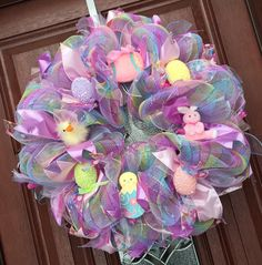 A personal favorite from my Etsy shop https://www.etsy.com/listing/223514717/deco-mesh-easter-wreath-spring-wreath