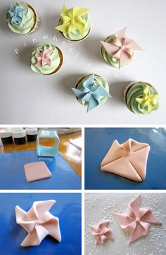 No link, just pictures from Black/White Side by Side -- pinwheel toppers for cupcakes.  Cute!  Scroll down almost to the bottom of the page for all the pinwheel ideas.