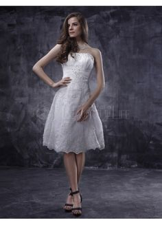 $168.49  Satin Lace Strapless Knee-length Beading Embroidery Wedding Dress #wedding #dress #short
