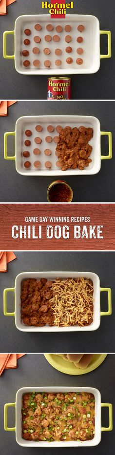 Chili Nation is going to the dogs. Chili dogs, that is — topped with HORMEL® Chili. Low Carb Recipes, Cooking Recipes, Drink Recipes, Great Recipes, Favorite Recipes, Chili Dogs, Game Day Food, Quick Meals, Love Food