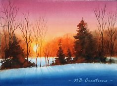 easy watercolor landscape paintings - Google Search