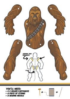 Some free downloads and others to purchase, nice detail Chewbacca paper puppet
