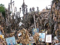 The Hill of Crosses in Siauliai (Lithuania) - http://en.wikipedia.org/wiki/Hill_of_Crosses