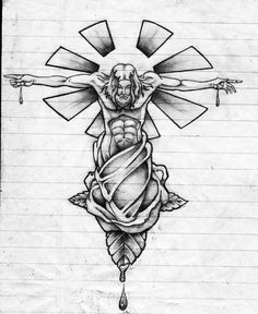Sketch of Jesus emerging from a rose. Representational of Christian belief that out of Christ& suffering comes your salvation. The Beatiful Sacrifice Body Art Tattoos, Hand Tattoos, Sleeve Tattoos, Chicano Tattoos, Tatoos, Cross Tattoo Designs, Angel Tattoo Designs, Tattoo Design Drawings, Tattoo Sketches