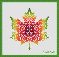 Cross Stitch Pattern Vintage Maple leaf fantasy Canada Counted Cross Stitch…