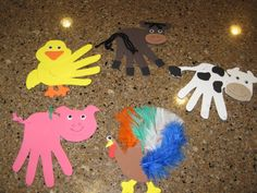 Trace students' hands onto foam felt and create farm animals crafts.  Good activity to go along with Old MacDonald Had a Farm.
