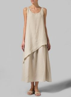 Linen Beige Layered Long Dress