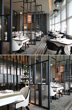 The French Window_Restaurant: Hong Kong by ABConcept.  Nice use of Metal + Glass Dividers