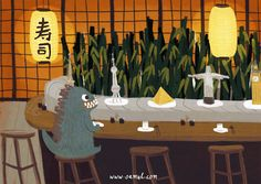 """LGM GIF of Oamul Lu / 卤猫. Little Gluttonous Monster at a revolving buffet. (""""Little Gluttonous Monster Gifs, Animation, Trendy Mood, Tumblr, Cute Gif, Motion Design, Freelance Illustrator, Godzilla, Animated Gif"""