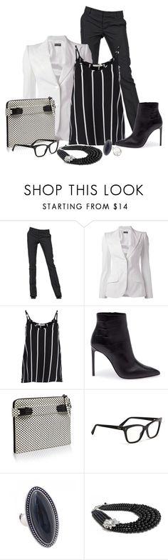 """""""blackandwhite"""" by bynoor ❤ liked on Polyvore featuring Dsquared2, Dolce&Gabbana, Pieces, Yves Saint Laurent, Opening Ceremony, Christian Dior and Tohum Design"""
