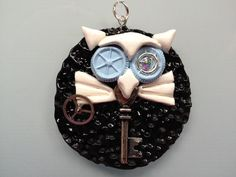 Blue & White Steampunk Owl Pendant with Chain by ConstantMindJewelry, $13.99