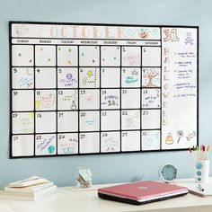 Dry-Erase Calendar Decal from PBteen. Saved to Hanukkah List 🔯. Shop more products from PBteen on Wanelo. Dorm Room Organization, Organization Ideas, White Board Organization, Organizing, School Organization, Diy Rangement, Dry Erase Calendar, Pottery Barn Teen, Dry Erase Board