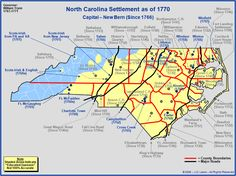 The Royal Colony of North Carolina - The Towns and Settlements in 1770