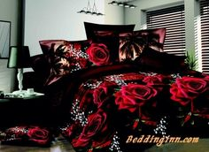 #rose #bedding #3d Bright Red Flowers Print 4-Piece 3D Polyester Duvet Cover Sets  Buy link->http://goo.gl/O1Lk93 Live a better life, start with @beddinginn
