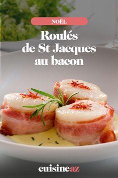 En entrée chaude, ces roulés de St Jacques au bacon blufferont vos invités. #recette#cuisine#saintjacques#entree #noel#fete#findannee #fetesdefindannee St Jacques, Bacon, Food Ideas, Cooking Recipes, Hot Appetizers, Pisces, Pork Belly