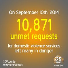 On Sept. 10, 2014, 10,871 unmet requests for domestic violence services left many in danger. #DVcounts | Learn more at http://NNEDV.org/Census