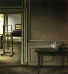 The poetry of a sober silence. Vilhelm Hammershoi 'Interior' (1907). Beautiful subdued colors and sober atmosphere.