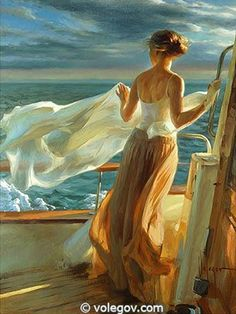 Volegov, Vladimir (b,1957)- Woman on Yacht Paintings I Love, Painting Pictures, Art Drawings, Woman Painting, Figure Painting, Painting & Drawing, Artist Painting, Painting Gallery, Art Gallery