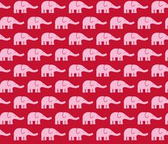 MEDIUM Elephants in red and pink fabric by katharinahirsch on Spoonflower - custom fabric
