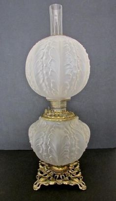 Rare 19th century Fostoria Satin Glass Beaded Acanthus Gone with the Wind Lamp