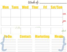 Weekly Chore Schedule Template For Excel  Task List