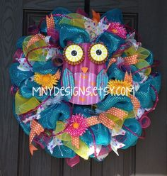 summer deco mesh wreath ideas | Bright Colored Owl Summer Deco Mesh Wreath, Indoor/Outdoor Wreath