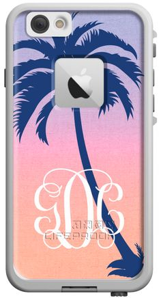 Pink Ombre Design + Midnight Blue Palm Tree on a LifeProof Case for iPhone 6 at BoutiqueMe.com