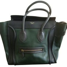 100% Authentic Celine Mini Comes with dust bag. Green and black celine mini bag. Has some loss of shape and wrinkles,  but still fantastic shape. Not stains, rips, or holes. Cheaper on pp of Mcari Celine Bags Totes