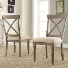 Aberdeen Wood X-Back Upholstered Side Chair in Weathered Driftwood