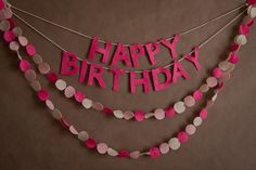 But with paint chip samples Happy Birthday Banner and Felt Garland Combo(pink). Homemade Party Decorations, Birthday Decorations At Home, Diy Birthday Banner, Happy Birthday Banners, Birthday Fun, Birthday Email, Felt Garland, Party Garland, Diy Garland