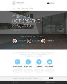 Template 45770 - Architecture Responsive  Javascript Animated  Template  with HTML 5, Portfolio, Blog,  Circular Design Elements