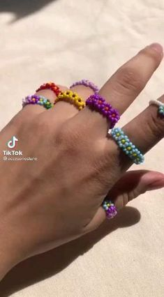 Diy Beaded Rings, Diy Jewelry Rings, Diy Jewelry Unique, Handmade Wire Jewelry, Diy Crafts Jewelry, Bracelet Crafts, Bead Jewellery, Beaded Jewelry, Diy Rings