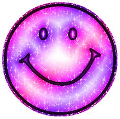Pink Purple Glitter Smiley Face