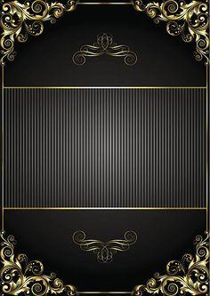 Black background with gold frame vector art illustration